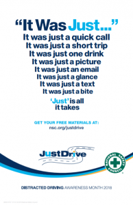 April is Distracted Driving Awareness Month - Distracted driving is
